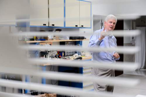 Trent Nelson  |  The Salt Lake Tribune David Hall explains research into automated window insulation at his office in Provo, Tuesday June 14, 2016. Nearly 150 scientists and engineers are working for Hall intent on solving technical and social challenges for building a futuristic enclave modeled on Joseph Smith's Plat of the City of Zion. Research focuses on everything from low-impact toilets, new building materials and cooperative economic systems to methods for high-intensity food production.