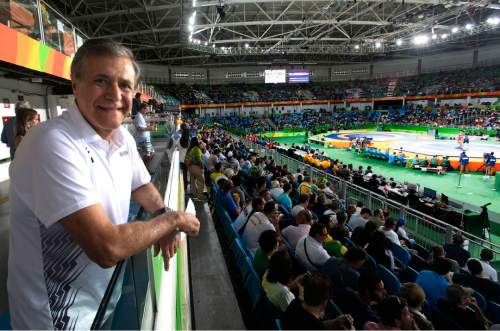 Rick Egan  |  The Salt Lake Tribune  Khosrow Semnani watches Olympic wrestling at the Carioca 2 Arena in Rio de Janeiro.  Semnani, an Iranian-born businessman and philanthropist who lives in Utah, has pledged cash donations to American and Iranian wrestlers and their coaches for winning a medal at the Olympic Games in Rio. Tuesday, August 16, 2016.