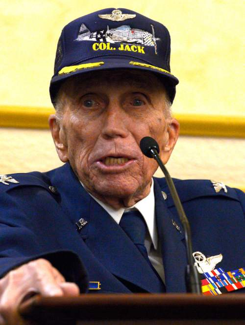 "Leah Hogsten  |  The Salt Lake Tribune US Air Force retired Col. Jack L. Tueller, 93, said he played the trumpet to calm his and his fellow pilots fears Friday, June 6, 2014. ""I must've played ""Danny Boy"" at least 9,000 times,"" Tueller said jokingly.  On the 70th Anniversary of D-Day, Fort Douglas Military Museum commemorated the Normandy invasion with a color guard and a salute to the troops, sailors and pilots who helped liberate France."