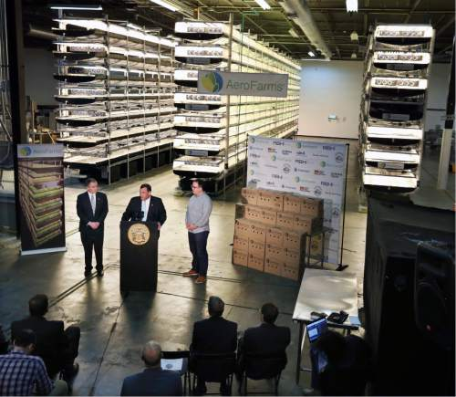 FILE - In this Thursday, March 24, 2016, file photograph, New Jersey Gov. Chris Christie, center at podium, addresses a gathering at AeroFarms, a vertical farming operation in Newark, N.J. AeroFarms is now refurbishing an old steel mill in New Jersey and they say it will soon be the site of the world's largest indoor vertical farm. The company says their Newark facility, set to open in September, could produce 2 million pounds of food per year and help with farming land loss and long-term food shortages. (AP Photo/Mel Evans, File)