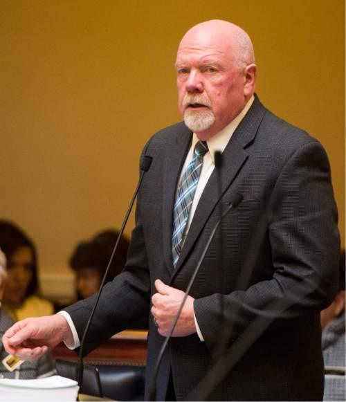 Rick Egan  |  The Salt Lake Tribune  Senator Howard Stephenson, comments on bill SB89, on the floor of the senate Friday, February 19, 2016.