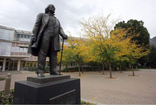 Francisco Kjolseth  |  Tribune file photo  Brigham Young statue at BYU in Provo.
