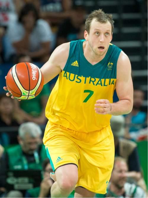 Rick Egan  |  The Salt Lake Tribune  Joe Ingles (7) leads a fast break for Australia, in basketball action, Australia vs. Serbia, at Carioca arena, in Rio de Janeiro, Friday, August 19, 2016.