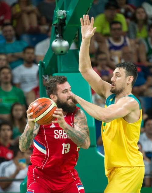Rick Egan  |  The Salt Lake Tribune  Andrew Bogut (6) of Australia guards Miroslav Raduljica (13) of Serbia defends, in basketball action, Australia vs. Serbia, at Carioca arena, in Rio de Janeiro, Friday, August 19, 2016.