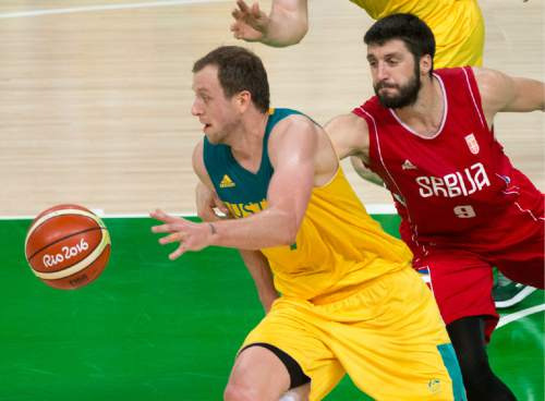Rick Egan  |  The Salt Lake Tribune  Stefan Markovic (9) of Serbia tries to stop a fast break by Joe Ingles (7) of Australia after he stole the ball away, in basketball action, Australia vs. Serbia, at Carioca arena, in Rio de Janeiro, Friday, August 19, 2016.