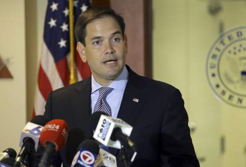 U.S. Senator Marco Rubio, R-Fla., speaks during a news conference about the Zika virus, Wednesday, Aug. 3, 2016 in Doral, Fla.The CDC has advised pregnant women to avoid travel to the Miami neighborhood of Wynwood where mosquitoes are apparently transmitting Zika directly to humans. (AP Photo/Lynne Sladky)