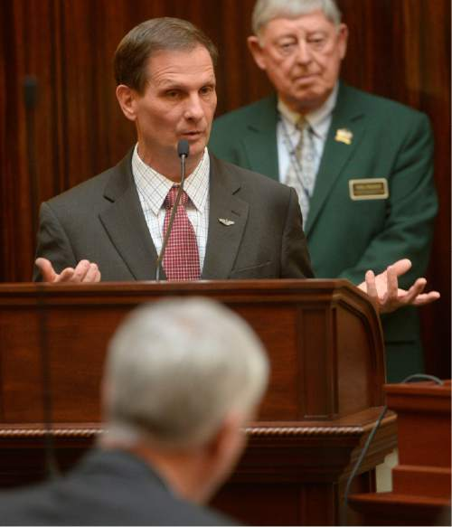 Al Hartmann  |  The Salt Lake Tribune Utah Congressman Chris Stewart speaks before the Utah House of Representatives Thursday Jan 28.