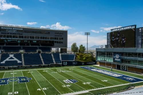 Chris Detrick  |  The Salt Lake Tribune Merlin Olsen Field at Maverik Stadium at Utah State University Wednesday August 17, 2016.