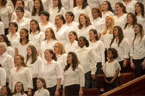 Rick Egan  |  The Salt Lake Tribune  A choir featuring members from more than 50 countries sing at the General Women's Session of the 186st Annual LDS General Conference, Saturday, March 26, 2016.
