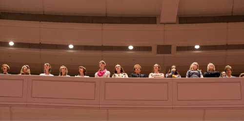 Rick Egan  |  The Salt Lake Tribune  Women sing at the General Women's Session of the 186st Annual LDS General Conference, Saturday, March 26, 2016.