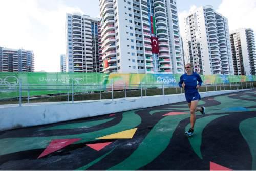 Rick Egan  |  The Salt Lake Tribune  Former BYU runner Jared Ward prepares for the marathon in the Olympic Village in Rio de Janeiro Brazil, Friday, August 12, 2016.
