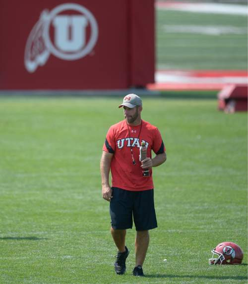 Francisco Kjolseth   The Salt Lake Tribune The University of Utah football defensive coordinator Morgan Scalley joins the team as they prepare to wrap up the last few days of fall camp on Friday, Aug. 19, 2016.