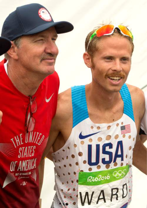Rick Egan  |  The Salt Lake Tribune  Jared Ward poses with coach, Ed Eyestone, after finishing 6th in a field of 155 runners, in todays Olympic Marathon, in Rio de Janeiro, Sunday, August 21, 2016.