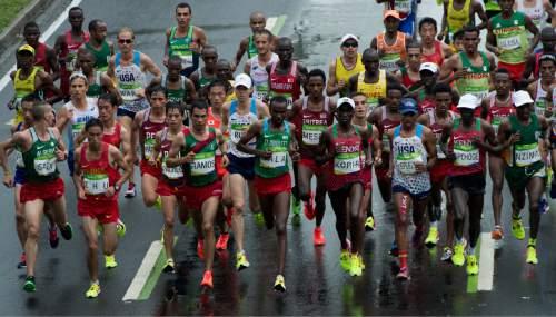 Rick Egan  |  The Salt Lake Tribune  Former BYU runner Jared Ward runs with the leaders groupi near Marina da Gloria, in the Olympic Marathon, in Rio de Janeiro, Sunday, August 21, 2016.