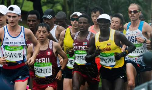 Rick Egan  |  The Salt Lake Tribune  Former BYU runner Jared Ward (far right) runs for the USA, with the leaders group near Marina da Gloria, in the Olympic Marathon, in Rio de Janeiro, Sunday, August 21, 2016.