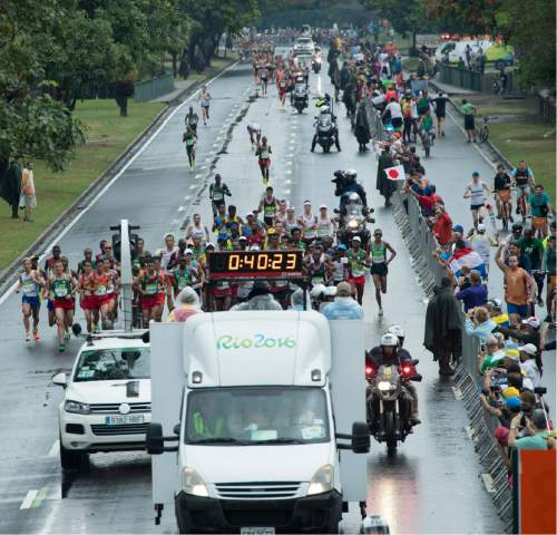 Rick Egan  |  The Salt Lake Tribune  Former BYU runner Jared Ward runs for the USA, with the leaders group at the 40 minute mark, near Marina da Gloria, in the Olympic Marathon, in Rio de Janeiro, Sunday, August 21, 2016.