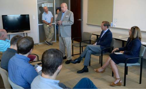 Al Hartmann  |  The Salt Lake Tribune  Jon Huntsman Sr., chairman emeritus, speaks to staff members of the Salt Lake Tribune Monday August 22, 2016 about challenges and upcoming changes for the news organization. Seated at right are Paul Huntsman, publisher, and new editor Jennifer Napier-Pearce.