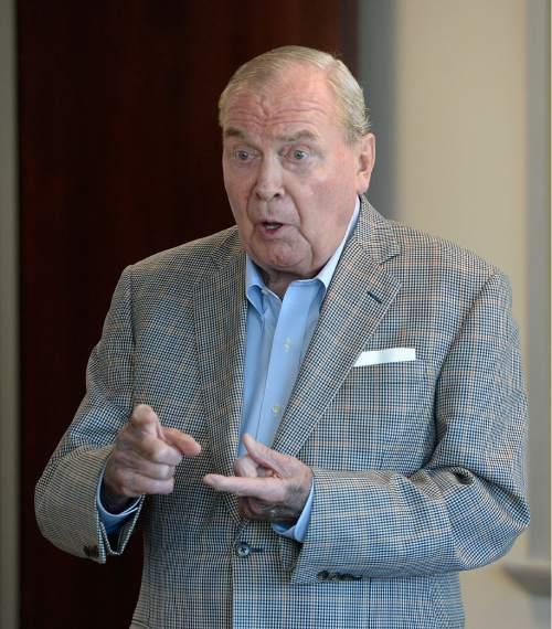 Al Hartmann  |  The Salt Lake Tribune  Jon Huntsman Sr., chairman emeritus, speaks to staff members of The Salt Lake Tribune Monday August 22, 2016 about challenges and upcoming changes for the news organization.