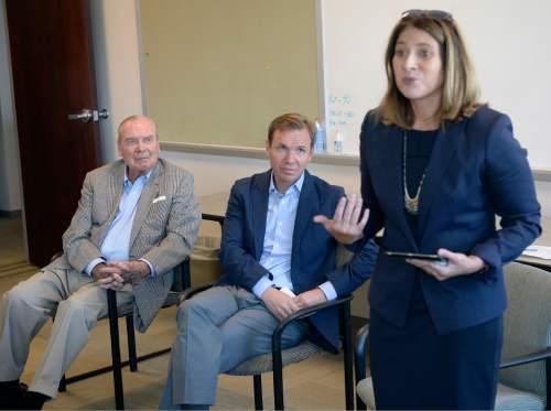 Al Hartmann  |  The Salt Lake Tribune  Jennifer Napier-Pearce, new editor of the Salt Lake Tribune, speaks to staff on Monday August 22, 2016.  Chairman Emeritus Jon Huntsman Sr. and Publisher Paul Huntsman listen in behind.