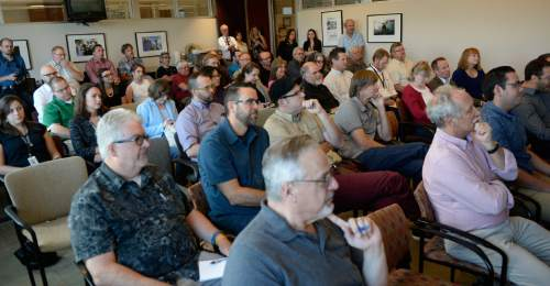 Al Hartmann  |  The Salt Lake Tribune  Staff members of the Salt Lake Tribune listen to Publisher Paul Huntsman speak about challenges and upcoming changes for the news organization Monday August 22, 2016.