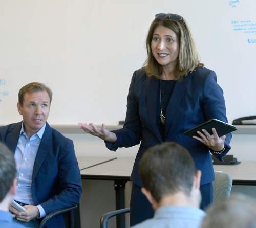 Al Hartmann  |  The Salt Lake Tribune  Jennifer Napier-Pearce, the new editor of The Salt Lake Tribune speaks to staff Monday August 22, 2016. Publisher Paul Huntsman sits to the left.