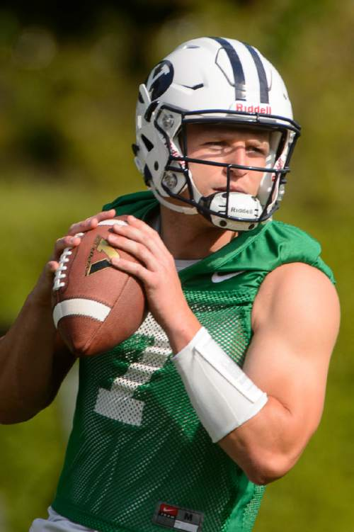 Trent Nelson     The Salt Lake Tribune BYU quarterback Taysom Hill at the first BYU fall camp practice under new coach Kalani Sitake, Friday August 5, 2016 in Provo.