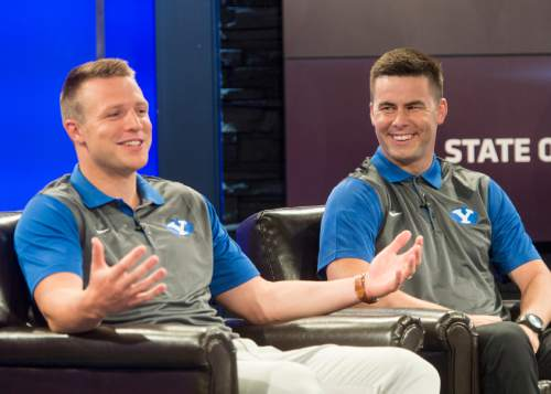 Rick Egan     The Salt Lake Tribune  BYU quarterbacks, Taysom Hill and Tanner Mangum talk to the media at the annual football media day at the Broadcasting Building,Thursday, June 30, 2016.