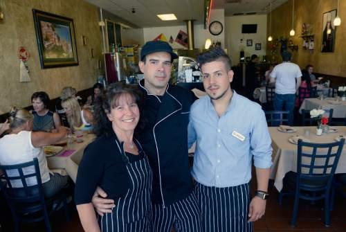 Al Hartmann  |  The Salt Lake Tribune  Margherita D'Aiessandro, Francesco and Giuseppe Merenda of Sicilia Mia, a family-run Italian restaurant at 4536 Highland Drive in Millcreek.