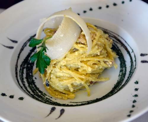 Al Hartmann  |  The Salt Lake Tribune  Spaghetti alla carbonara prepared tableside with homemade spaghetti with eggs, pancetta and parmigiano reggiano at Sicilia Mia in Millcreek.