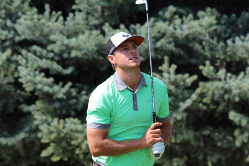 Courtesy  |  Jesse Dodson, Fairways Media  Jordan Rodgers competes in the final round at Riverside Country Club in Provo, Utah. Sunday, Aug. 23, 2015.