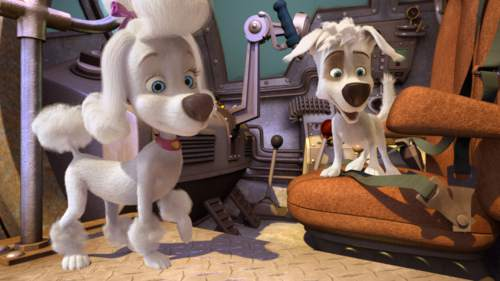 """Young cosmonaut dog-in-training Pushak (right) meets Fifi, a French poodle, in a scene from the animated """"Space Dogs: Adventure to the Moon."""" Courtesy  Epic Pictures"""