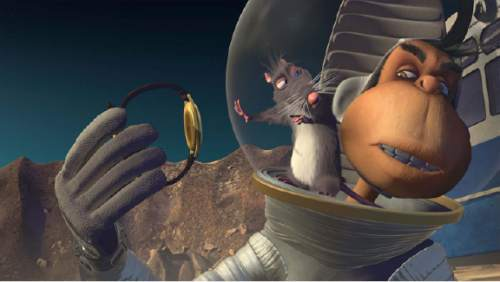 """Lenny, a rat entertainment producer, hitches a ride with Chip Armstrong, and American astro-chimp, in the animated  """"Space Dogs: Adventure to the Moon."""" Courtesy  Epic Pictures"""