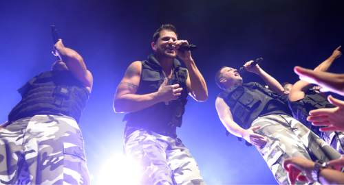 Leah Hogsten  |  The Salt Lake Tribune The reunited '90s boy band 98 Degrees -- made up of brothers Nick and Drew Lachey, Justin Jeffre and Jeff Timmons -- bring their MY2K Tour to the Maverik Center in West Valley City on Tuesday, August 23, 2016. Fellow boy band O-Town, pop-rock singer Ryan Cabrera and girl band Dream also performed.
