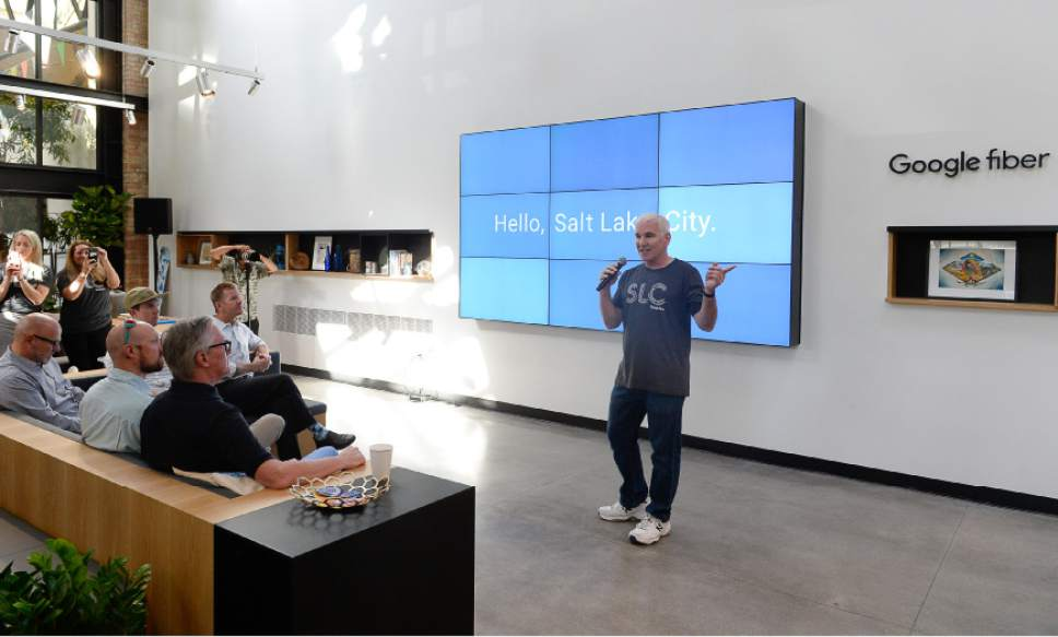 Francisco Kjolseth | The Salt Lake Tribune Scott Tenney, head of Google Fiber operations in Utah, announces the official launch of its high-speed internet service at their offices in Trolley Square, referred to as Fiber Space, on Wednesday, Aug. 23, 2016.