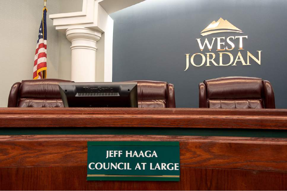 """Trent Nelson     The Salt Lake Tribune West Jordan City Councilman Jeff Haaga's seat is empty prior to a meeting where he faces a possible censure, Wednesday August 10, 2016. Councilman Chad Nichols has proposed a resolution to condemn the """"malconduct"""" of his colleague. Haaga was recorded July 19 on police body camera video in which he appeared to be drunk. Officers cited him for hit-and-run after witnesses said he drove away from a local bar after hitting a car in the parking lot earlier that evening."""