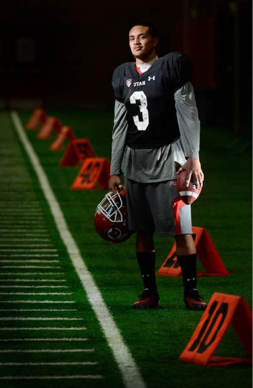 Francisco Kjolseth  |  The Salt Lake Tribune  University of Utah football player Jason Thompson.