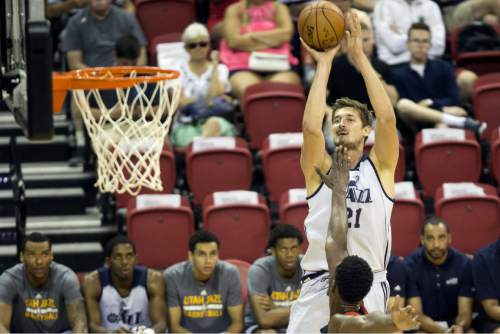 Utah Jazz's Tibor Pleiss (21) shoots against the Portland Trail Blazers during an NBA summer league basketball game Tuesday, July 12, 2016, in Las Vegas. (Erik Verduzco/Las Vegas Review-Journal via AP)