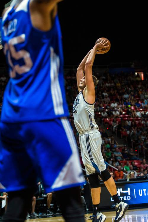 Chris Detrick  |  The Salt Lake Tribune Utah Jazz's Tibor Pleiss (21) dunks the ball during the game at the Huntsman Center Thursday July 7, 2016.