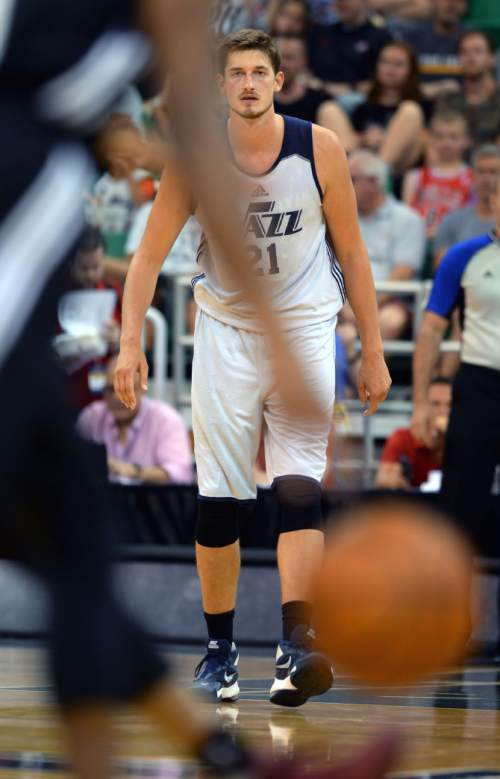Steve Griffin / The Salt Lake Tribune  Utah Jazz center Tibor Pleiss guards the paint during the Jazz versus Spurs summer league game at the Vivint Smart Home Arena in Salt Lake City Monday July 4, 2016.