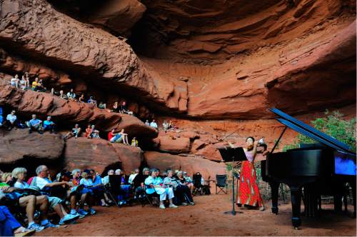 The Moab Music Festival returns for its 24th season Sept. 1-12 with a host of concerts, from Schubert and the Beatles to the sounds of Latin America, set against the southern Utah landscape. Pictured, one of the festival's signature grotto concerts. Richard Bowditch  |  Courtesy