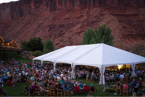 The Moab Music Festival returns for its 24th season Sept. 1-12 with a host of concerts, from Schubert and the Beatles to the sounds of Latin America, set against the southern Utah landscape. Pictured, a 2015 performance at Red Cliffs Lodge. Richard Bowditch  |  Courtesy