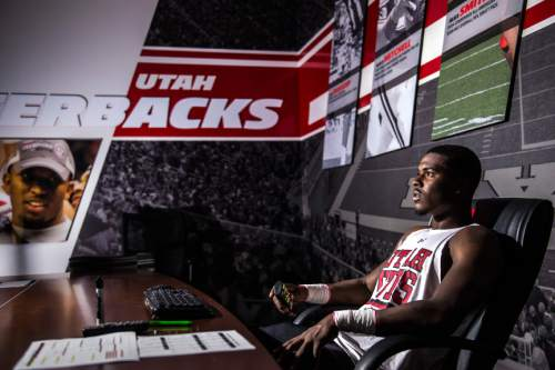 Chris Detrick  |  The Salt Lake Tribune Utah quarterback Troy Williams poses for a portrait while watching game footage at Spence and Cleone Eccles Football Center Tuesday August 23, 2016.