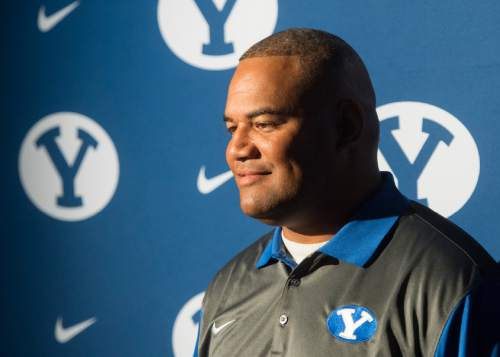 Rick Egan  |  The Salt Lake Tribune  BYU Defensive Coordinator & Linebackers Coach, Ilaisa Tuiaki, answers questions from the press, during the annual football media day at the Broadcasting Building,Thursday, June 30, 2016.