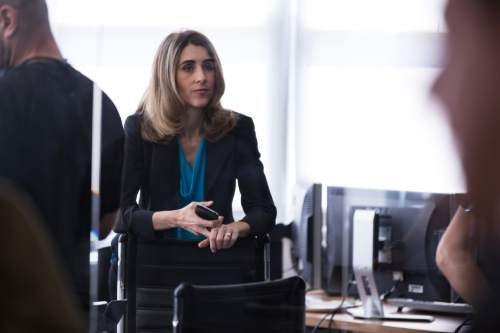 """Sarah Megan Thomas plays Erin Manning, an ambitious assistant to a hard-driving investment banker (Anna Gunn), in the financial thriller """"Equity."""" Thomas co-produced the movie with co-star Alysia Reiner. Steve Buckwalter     Sony Pictures Classics"""