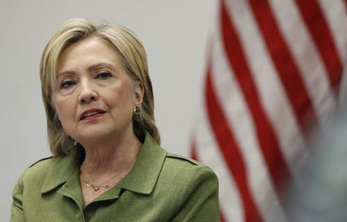 Democratic presidential candidate Hillary Clinton speaks to media as she meets with law enforcement leaders at John Jay College of Criminal Justice in New York, Thursday, Aug. 18, 2016. (AP Photo/Carolyn Kaster)