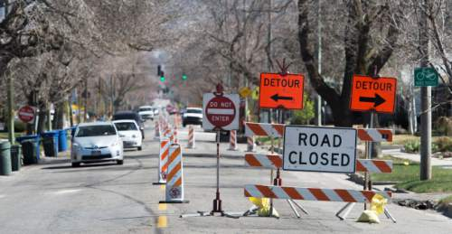 Steve Griffin  |  Tribune file photo  Construction along 1700 south near 200 east in Salt Lake City in 2015. Some cities say they're being shortchanged on the local share of state gas tax that they count on to help pay for local road construction, repair and maintenance.