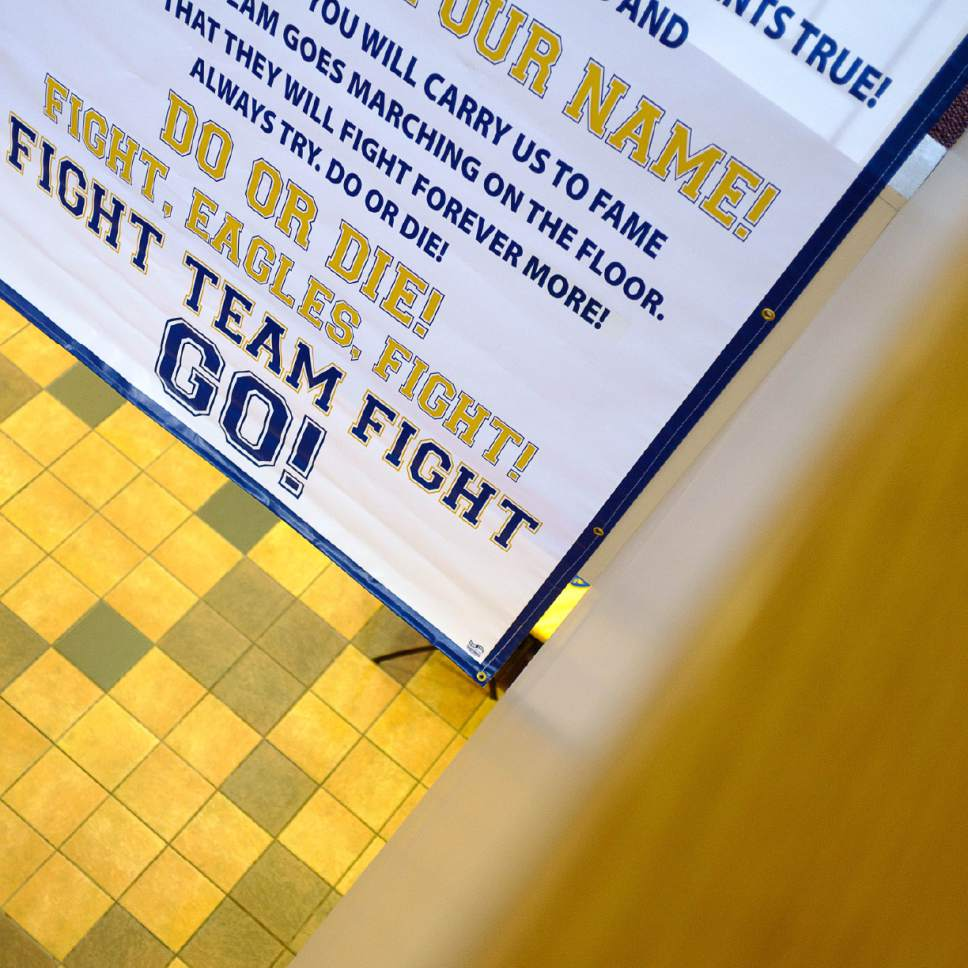 Trent Nelson  |  The Salt Lake Tribune The lyrics to the Utah State University Eastern school fight song on display in the Jennifer Leavitt Student Center in Price, Tuesday August 23, 2016.