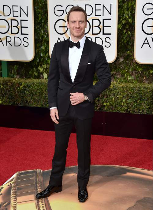 Michael Fassbender arrives at the 73rd annual Golden Globe Awards on Sunday, Jan. 10, 2016, at the Beverly Hilton Hotel in Beverly Hills, Calif. (Photo by Jordan Strauss/Invision/AP)