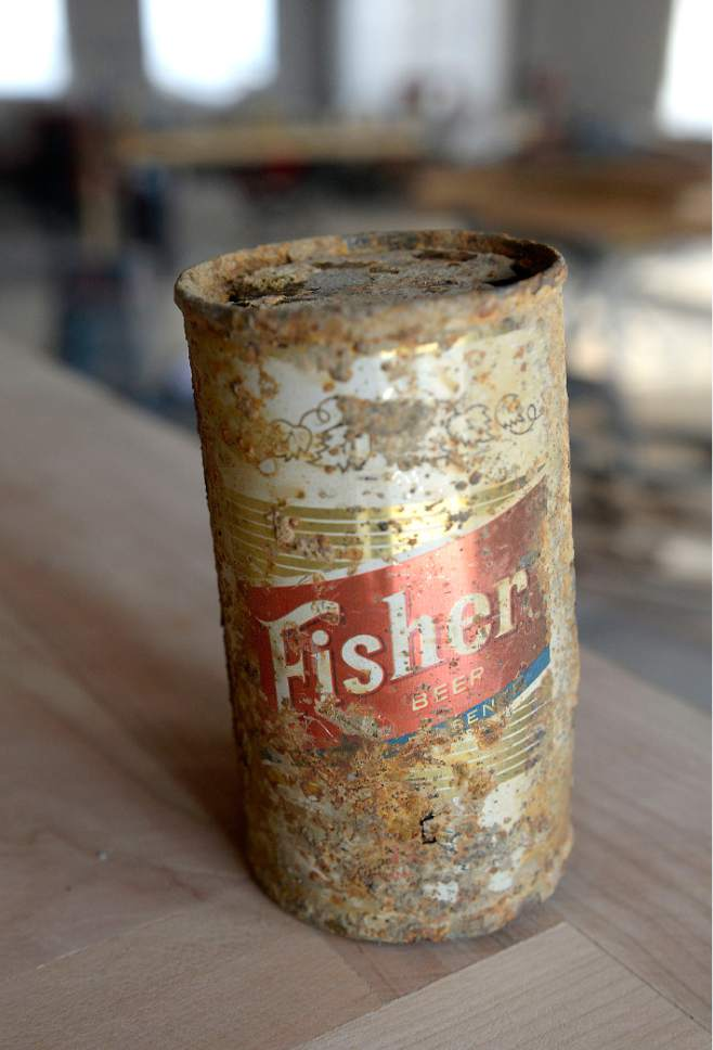 Al Hartmann  |  The Salt Lake Tribune  Rusted relic of a Fisher Beer can from the old days.  Beer partners Colby Frazier, Tom Fisher Riemondy, Tim Dwyer, and Steven Brown are starting a new Fisher Brewing pub that will open in late fall of 2016 at 320 W. 800 S in Salt Lake City.  The A. Fisher Brewing Co., first opened in 1884 by Albert Fisher. It closed in 1917 when the Utah Legislature outlawed alcohol, and reopened in 1934, after the repeal of national Prohibition. It closed for good in the 1960s.