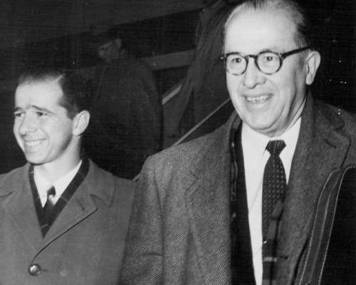 Tribune file photo  Reed Benson with his father, Ezra Taft Besnon, in 1958.